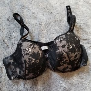 Cacique Black Lace and Nude Bra